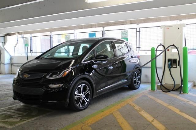 2017 Chevrolet Bolt EV electric car at EVgo fast-charging station, Newport Centre, Jersey City, NJ
