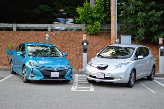 2017 Toyota Prius Prime and 2015 Nissan Leaf belonging to reader John. C. Briggs