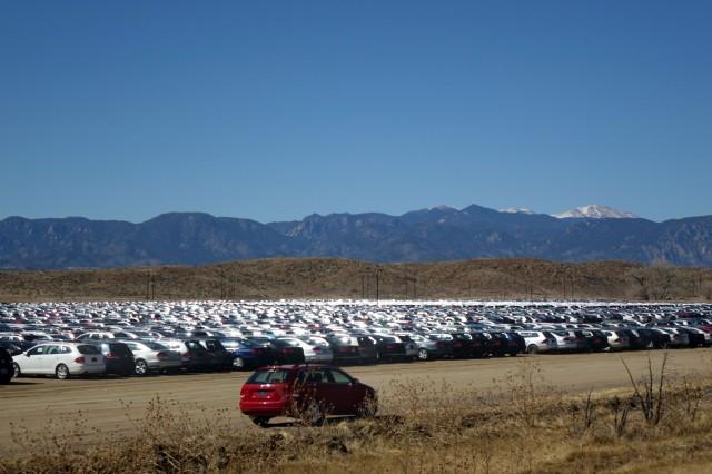 Volkswagen turbodiesels await their fate near Pikes Peak International Raceway in Colorado Springs