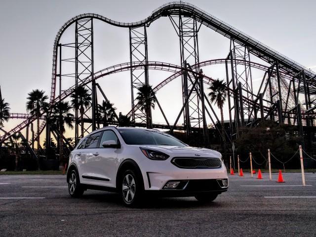 2018 Kia Niro Plug-In Hybrid, Six Flags Magic Mountain, California, Dec 2017