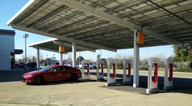 Tesla Supercharger site in Rocklin, California, before expansion    [photo: George Parrott]