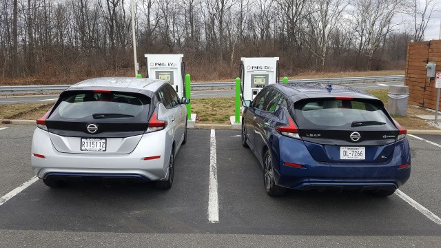 Two 2018 Nissan Leafs with EVgo fast charger at NJ Turnpike Molly Pitcher travel plaza, Feb 2018